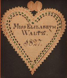 Pennsylvania Early 19th Century Scherenschnitte Valentine