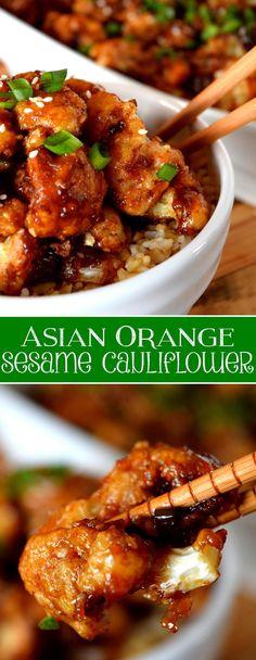 Asian Orange Sesame Cauliflower – Lord Byron's Kitchen - Vegan Asian Vegetable Recipes, Vegetarian Recipes, Healthy Recipes, Vegetarian Asian Recipes, Veggie Food, Whole Food Recipes, Dinner Recipes, Cooking Recipes, Califlour Recipes