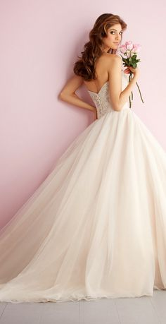 White and Gold Wedding. Sweetheart Corset Ballgown Dress. Allure Romance Spring 2014 Bridal Collection | bellethemagazine.com