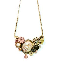 Vintage Button Bib #Statement Necklace in Pink Gift for #Mom by BluKatDesign- one of a kind!!!