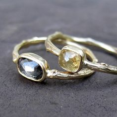 Rose Cut Diamond Twig Ring