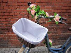 Blue bicycle with DIY basket lining 3 - lilmissboho.com