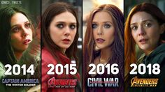 [Scarlet witch over the years] I can't wait to see her in Avengers: Infinity war! I love her character! Marvel Films, Marvel Characters, Marvel Heroes, Marvel Dc, Captain Marvel, Marvel Universe, Alisson Teen Wolf, Wanda Marvel, Scarlet Witch Marvel