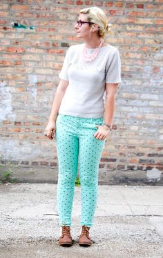 """Polka dot pants are always a """"do"""", especially on Maggie, from Stranger Than Vintage!"""