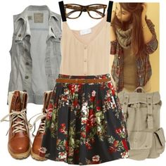 Floral Skirt, Cream Tank with Black Straps, Light Blue Jean Vest, and Brown Combat Boots