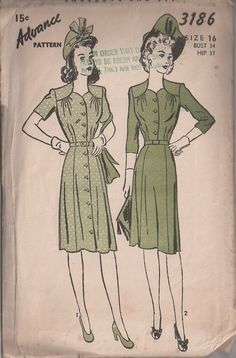 MOMSPatterns Vintage Sewing Patterns - Advance 3186 Vintage 40's Sewing Pattern DELIGHTFUL WW2 Wartime Era Coat Dress, Step In Day Dress, Sweetheart Neckline