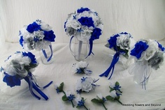 royal blue,silver, and white wedding bouquet package  Yup that's pretty much the colors just a lighter blue but that's what I want the bouquets to look like..