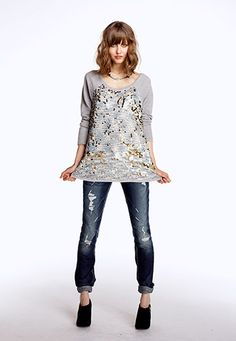 Sequin Front Scoop Neck pullover - maurices.com