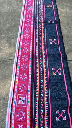 Handwoven Hmong, Vintage fabric, Cross stitch  textiles and cotton fabrics- Table runner,