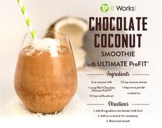 Chocolate Coconut Smoothie // Start your day with this yummy tropical refreshment! http://www.myitworks.com/shop/product/316/