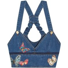 Valentino Embroidered appliquéd stretch-denim bustier top ($1,105) ❤ liked on Polyvore featuring tops, valentino, blue, crop top, denim, butterfly print top, embroidered top, embroidery tops, strappy top and bustier tops