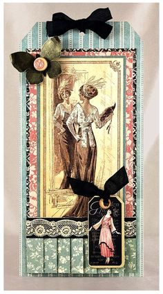 Learn how to make this A Ladies' Diary tag by clicking on the photo! #graphic45 #tutorials