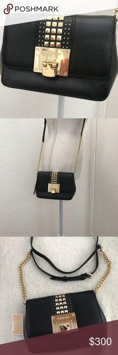 43a7eeaba4 Michael Kors Black Tina Studded Leather Crossbody