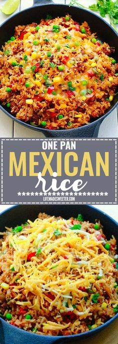 One Pan Mexican Rice Skillet makes the perfect easy 30 minute weeknight meal! - One Pan Mexican Rice Skillet makes the perfect easy 30 minute weeknight meal! Mexican Dishes, Mexican Food Recipes, Beef Recipes, Dinner Recipes, Cooking Recipes, Healthy Recipes, Potato Recipes, Mexican Fried Rice, Mexican Recipes