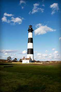 Bodie Island Lighthouse  It was  built in 1872. It stands 156 feet tall and is located on the Roanoke Sound side of the first island that is part of the Cape Hatteras National Seashore.