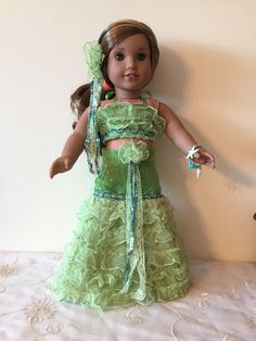 A personal favorite from my Etsy shop https://www.etsy.com/listing/486774296/american-girl-green-sea-siren-outfit