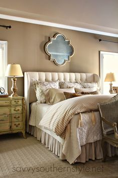 Master reveal with king size bed, upholstered headboard, Pottery Barn bedding, Ballard Designs bedding, French bench.