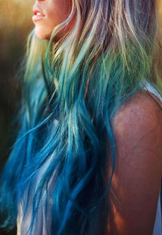 PEACOCK FANTASY  // (2) Green and Turquoise Blue Ombre Hair Extensions // Clip-In // Human Hair. $28.00, via Etsy.