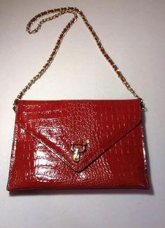 """EUC Vintage 1970s """"Vivace"""" Women's Leather  Croc Red  Purse Large #Vivace…"""