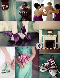 purple and turquoise wedding