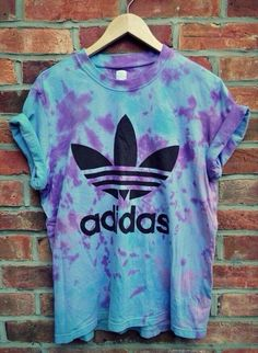 shirt blue purple adidas top adidas baggy tshirt tshirt tie dye