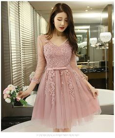 Buy minako V-neck Cocktail Dress Lace Party Dresses, Bodycon Dress Parties, Prom Dresses, Formal Dresses, Dresses For Teens, Asian Style, Ball Gowns, Cool Style, Fashion Dresses
