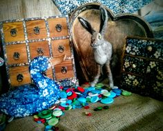 My little dry felted hare in amongst my decoupage buts and pieces I've created for my first craft fayre.
