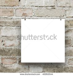 #Stock #photo: #square #blank #frame hanged by #pegs against #grey #weathered #brick #wall #background #shutterstock