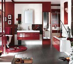 12 Ultra Stylish Bathroom Designs from Delpha – Smart Red Themed Bathroom Design Idea Bathroom Wall Cabinets, Bathroom Red, Bathroom Colors, Colorful Bathroom, Master Bathroom, Gothic Bathroom, Relaxing Bathroom, Bathroom Modern, Minimalist Bathroom
