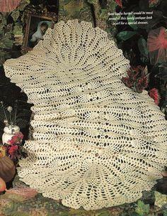 Crochet Antique Pineapple Dresser Doily Scarf Pattern, Crochet centerpiece, Piano-Pineapple Crochet Table Runner Pattern PDF Download by PatternsforHome on Etsy