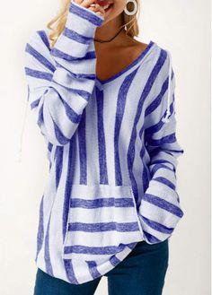 Long Sleeve Striped Hooded Collar Blue T-Shirt ~ $30.16 at m.liligal.com