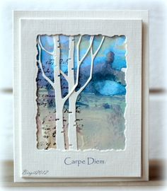 beautiful card with a winter scene framed by top card layer...Memory Box die cut birches...