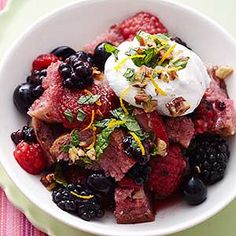 Summer Berry Bread Pudding with Mint Gremolata