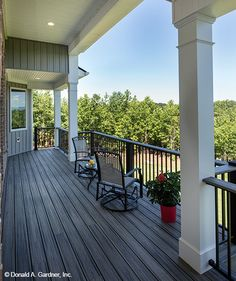 Relax on this rear porch with gorgeous views! The Butler Ridge home plan 1320-D. #WeDesignDreams