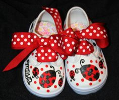 Girls Custom Painted Tennis Shoes Sneakers LADY BUGS by paintmama, $55.00