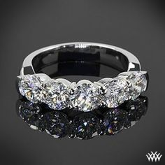 5 stone diamond wedding bands for women