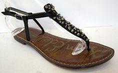 Sam Edelman 'Gwyneth' Black Leather Thong Ankle Strap Sandal Size 7M #SamEdelman #FlipFlops