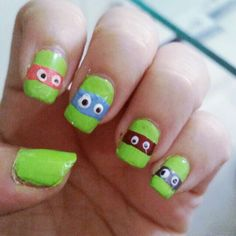 DIY Teenage Mutant Ninja Turtle inspired nails