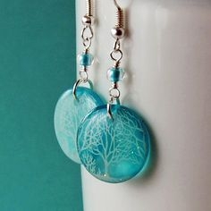 Tiffany blue snow day earrings, spakling sky earrings, tree earrings ,snow earrings earrings, gifts for her, gifts under 25 on Etsy, $17.00