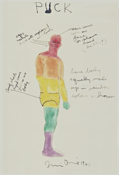 "Jim Dine. Puck. Costume design for the play A Midsummer Night's Dream. 1966. Watercolor, ink, and pencil on transparentized paper. 14 7/8 x 10"" (37.8 x 25.4 cm). Gift of Mrs. Donald B. Straus. 402.1966. © 2016 Jim Dine / Artists Rights Society (ARS), New York. Drawings and Prints"