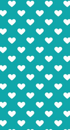 Turquoise with white hearts