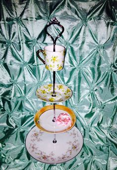 vintage plates Tier Dessert Stand for parties showers on Etsy, $41.00