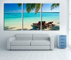 Modern Art Abstract Painting Beach Ocean Sea Canvas Living Room Decor in Paintings | eBay
