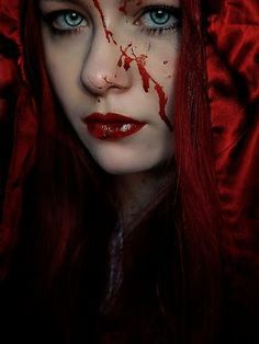 Photographic Print: A Girl Wearing a Red Hood with Blood Splattered on Her Face by Elizabeth May : Vampire Girls, Vampire Art, Black Vampire, Red Riding Hood Makeup, Zombies, Red Ridding Hood, Relaxation Gifts, Goth Beauty, Red Hood