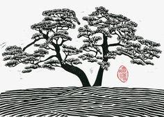Linogravure DOUBLE Pin pin arbre impression noir et par magprint