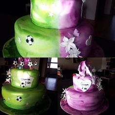 50/50 cake. Ballet and soccer
