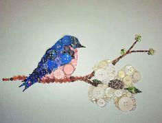 Blue Bird Button Art from https://www.etsy.com/shop/bellepapiers