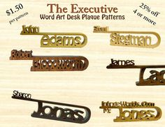 Executive Style Desk Top Name Plaque Scroll Saw Patterns, Save 25% On 4 Or More…