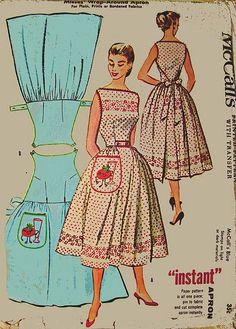 M2104 McCalls Vintage Wrap -around Apron Pattern (it's more dress than apron!) by kelly.meli
