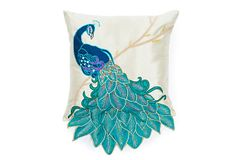Peacock 16x16 Pillow, Teal on OneKingsLane.com